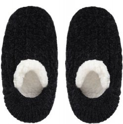 Chenille Cable Soft Slippers - Black
