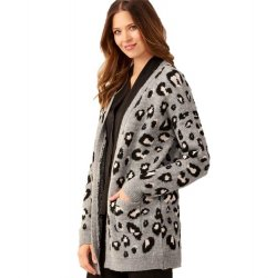 Cardigan with Front Pockets - Grey Animal