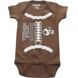 Onesie - Daddy's Little Football in Brown
