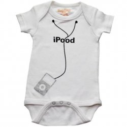 Onesie - I Pood with Silver Ipod in White