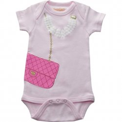 Onesie - Pink Bag with Pearls in Pink