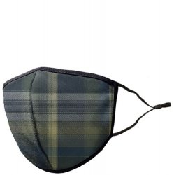 Adult Adjustable Cotton/Blend Face Mask - Green Plaid