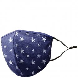 Adult Adjustable Cotton/Blend Face Mask - Navy Stars