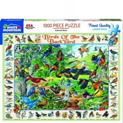 White Mountain 1000 pc Puzzle - Birds of The Backyard