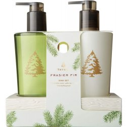 Thymes Frasier Fir Hand Lotion and Soap in Ceramic Caddy