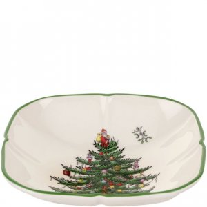 "SPODE ""Christmas Tree"" Sculpted Square Dish"