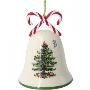 """SPODE """"Christmas Tree"""" Candy Cane Bell Ornament"""