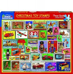 White Mountain 1000 pc Puzzle - Christmas Toy Stamps