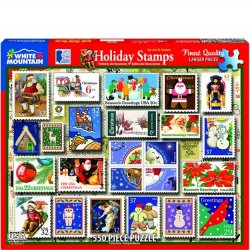 White Mountain 550 pc Puzzle - Holiday Stamps