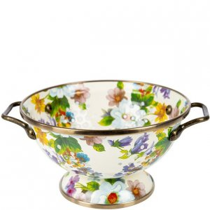 MacKenzie-Childs White Flower Market Enamel Small Colander