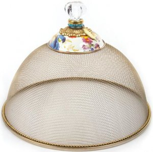 MacKenzie-Childs White Flower Market Enamel Small Mesh Dome