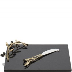 Michael Aram Olive Branch Gold Cheeseboard & Knife Set