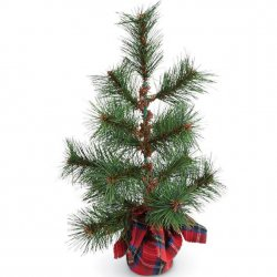 Red Tartan Small Faux Pine Tree