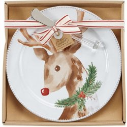 Boxed Cheese Plate and Server Set - Reindeer