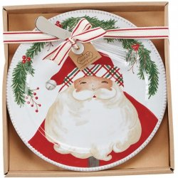 Boxed Cheese Plate and Server Set - Santa