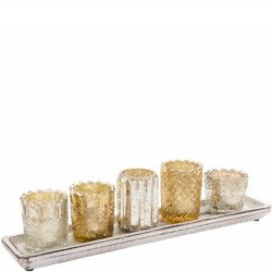 Mercury Glass Votive Tray Set
