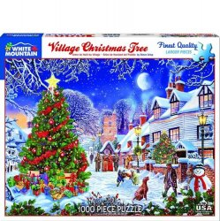White Mountain 1000 pc Puzzle - Village Christmas Tree