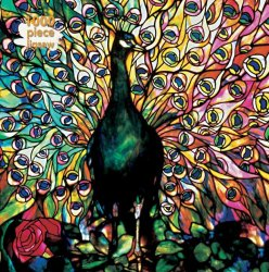 Flame Tree 1000 PC Puzzle - Tiffany Displaying Peacock