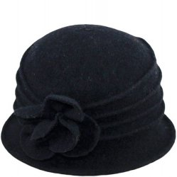 Wool Blend Ribbed Hat With Flower Accent