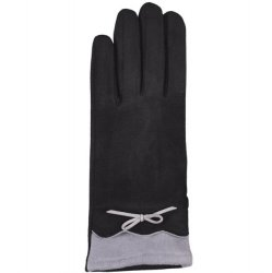 Microfiber Texting Glove with Bow - Black/Grey