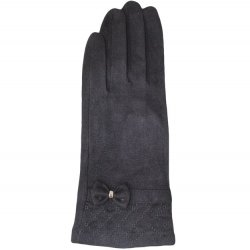 Microfiber Texting Glove Quilted with Bow - Black