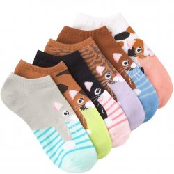6 Pack No Show Socks - Cats