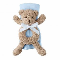 Mud Pie Blue Bear Rattle and Blanket Set