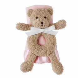 Mud Pie Pink Bear Rattle and Blanket Set