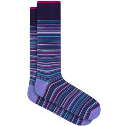Bugatchi Mercerized Cotton Socks - Plum Stripe