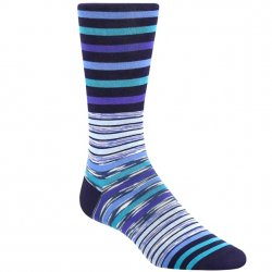 Bugatchi Mercerized Cotton Socks - Blue Stripe