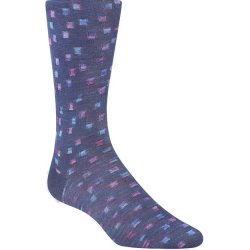 Bugatchi Mercerized Cotton Socks - Navy Squares