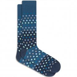 Bugatchi Mercerized Cotton Socks - Teal Dots