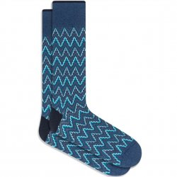 Bugatchi Mercerized Cotton Socks - Teal Zig Zag
