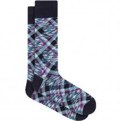 Bugatchi Mercerized Cotton Socks - Midnight plaid